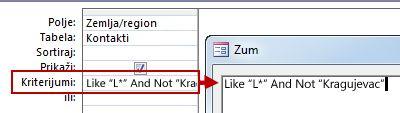 Slika dizajna upita koji koristi NOT uz AND NOT praćeno tekstom koji treba izuzeti iz pretrage