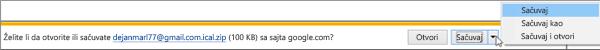 Odaberite lokaciju za čuvanje izvezenog Google kalendara.