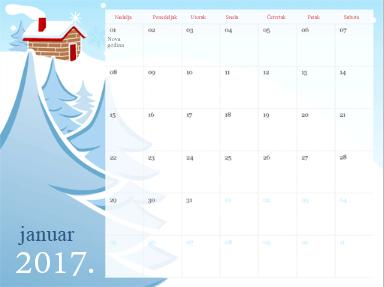 Predložak kalendara u usluzi PowerPoint Online