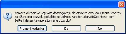 Dijalog u programu Word u kom je prikazan dokument sa ograničenom dozvolom koji je prosleđen neovlašćenoj osobi