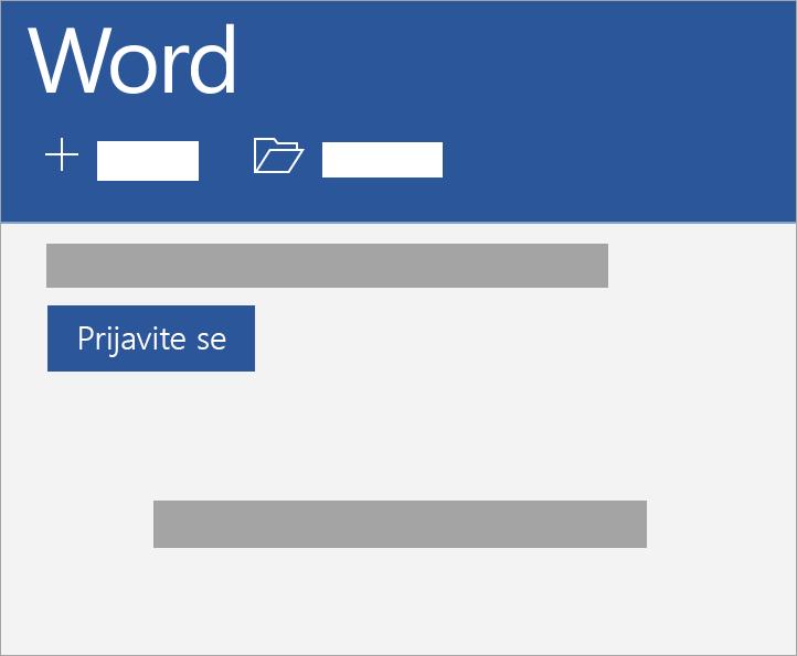 Prijavite se pomoću Microsoft naloga ili Office 365 poslovnog ili školskog naloga.