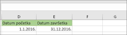 Datum početka u ćeliji D53 je 1.1.2016, a datum završetka u ćeliji E53 je 31.12.2016.