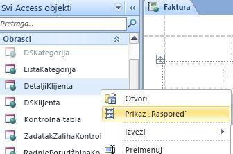 Otvorite veb obrazac ili izveštaj u prikazu rasporeda