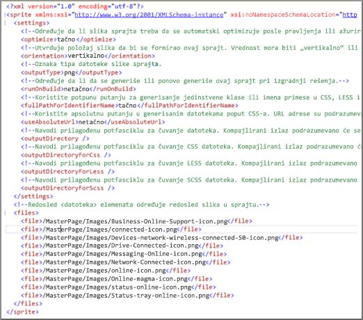 Snimak ekrana sprajt XML datoteke