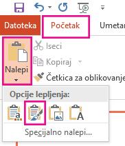 """Iz menija """"Nalepi"""", kliknite na ikonu zadrži u izvornom obliku."""