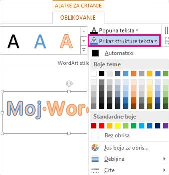 """Galerija """"Boja obrisa teksta"""" na kartici """"Format alatki za crtanje"""""""
