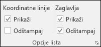 Raspored na stranici > lista opcija > Štampanje naslova
