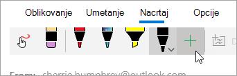 Snimak ekrana dugmeta Dodaj pero