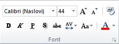 "Grupa ""Font"" na kartici ""Početak"" na traci programa PowerPoint 2010."