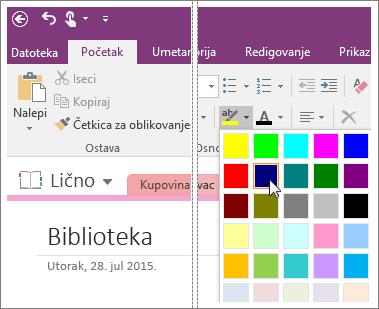 """Snimak ekrana dugmeta """"Boja za isticanje teksta"""" u programu OneNote 2016."""