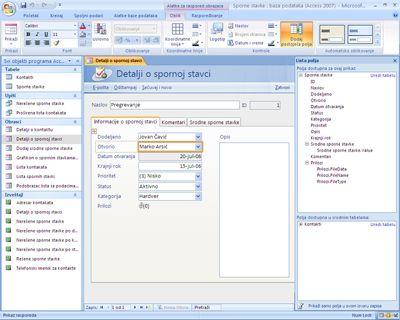 Uređivanje obrazaca u programu Office Access 2007