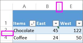 duple linije između redova i kolona ukazuju na skrivene redove ili kolone