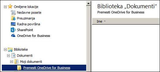 Fascikla za pripremanje datoteka za premeštanje u Office 365