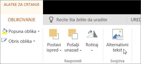 """Snimak ekrana prikazuje karticu """"Oblik"""" alatki za crtanje sa kursorom koji pokazuje opciju """"Alternativni tekst""""."""