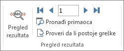 """Snimak ekrana kartice """"Pošiljke"""" u programu Word koji prikazuje grupu """"Pregled rezultata""""."""