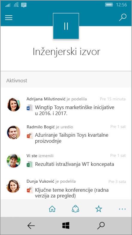 Windows 10 Mobile prikazuje aktivnosti, datoteke, liste i navigacije