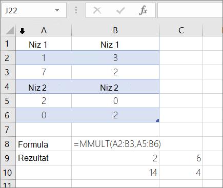 Funkcija MMULT – primer 1