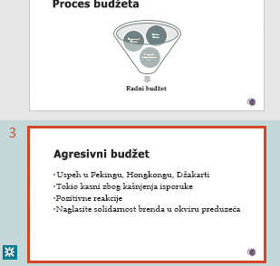 Revizija isticanjem u oknu sa sličicama programa PowerPoint