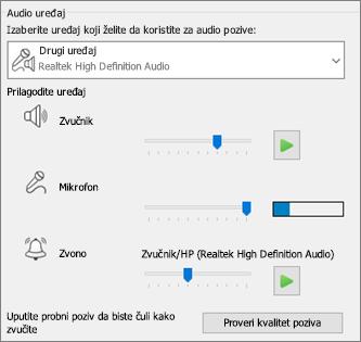 Prilagođene postavke – zvučnik, mikrofon, zvono – za audio uređaj