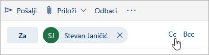 "Snimak ekrana dugmadi ""Cc"" i ""Bcc"""
