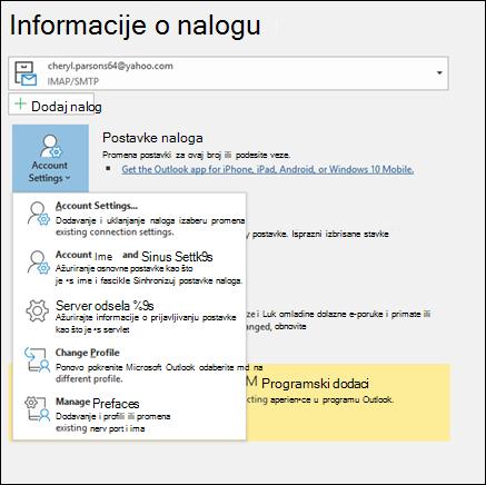 Imate više tipova postavke naloga možete da promenite u programu Outlook.