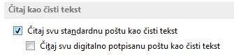 """Polje za potvrdu """"Čitaj svu standardnu poštu u formatu čistog teksta"""""""