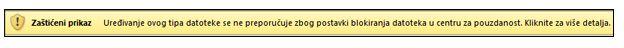 Zaštićeni prikaz iz blokiranja datoteka, korisnik može da uredi datoteku