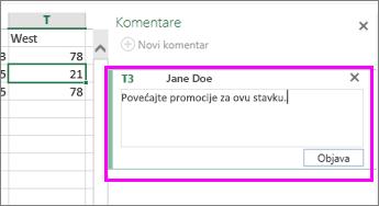 """okno """"komentari"""" u kojem dodajete ili uređujete komentar"""