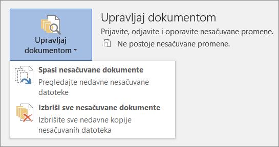 Upravljanje dokumentima u sistemu Office 2016
