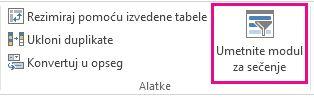 """Dugme """"Modul za sečenje"""" na kartici """"Dizajn"""" alatki za tabele"""