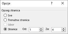 """Otkucajte opseg stranica u polja """"Od"""" i """"Do"""""""