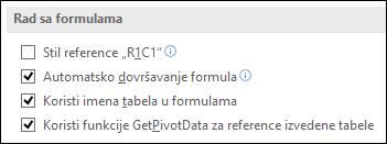 "Datoteka > opcije > formule > rad sa formulama > stil reference ""R1C1"""