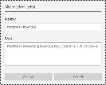 Dodavanje alternativnog teksta u ugrađene datoteke u aplikaciji OneNote za Windows 10