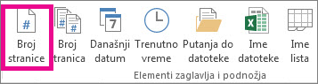 """U grupi """"Elementi zaglavlja i & podnožja"""" kliknite na dugme """"Broj stranice"""""""