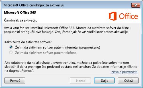 Prikazuje čarobnjak za aktivaciju za Office 365