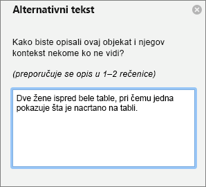 Okno za alternativni tekst za dodavanje alternativnog teksta na slike u programu Outlook