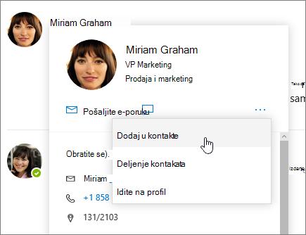 Snimak ekrana otvaranje kontakt kartice sa Dodaj u kontakte izabran