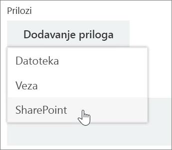 """Snimak ekrana oblasti """"Prilozi"""" u prozoru zadatka sa otvorenom listom """"Prilaganje""""."""
