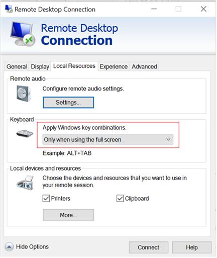 Postavljanje primenite Windows opcije tipki na karticu lokalni resursi u dijalogu veza sa udaljenom radnom površinom
