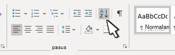 """Odeljak """"pasus"""" u programu Word sa sortiranju"""