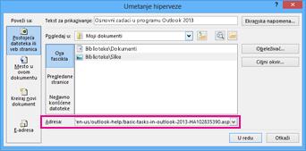 insert hyperlink dialog box