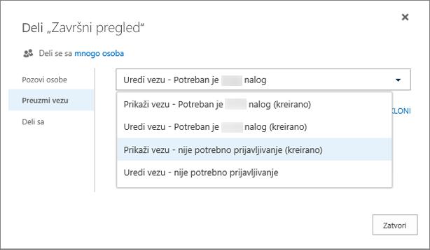 Snimak ekrana izbora veze