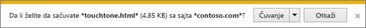 Odziv za preuzimanje programa Internet Explorer