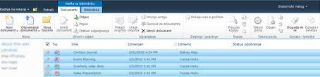 SharePoint biblioteka dokumenata sa većim brojem datoteka označenim za odjavljivanje