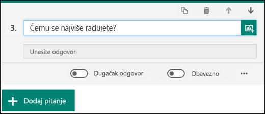 Tekstualno pitanje prikazano u obrascu