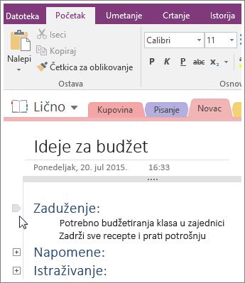 Snimak ekrana za skupljanje prikaza strukture u programu OneNote 2016.