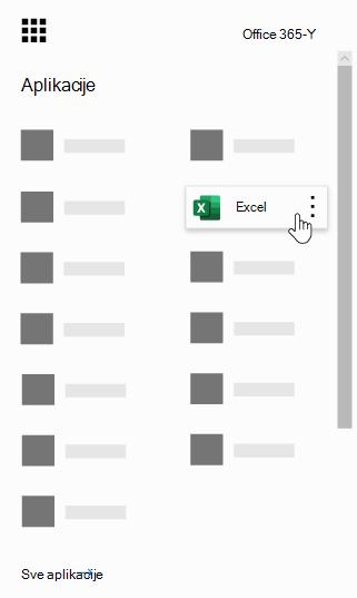 Office 365 pokretanje aplikacija sa markiranom aplikacijom Excel