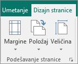 """Grupa """"Podešavanje stranice"""" na kartici """"Dizajn stranice"""""""