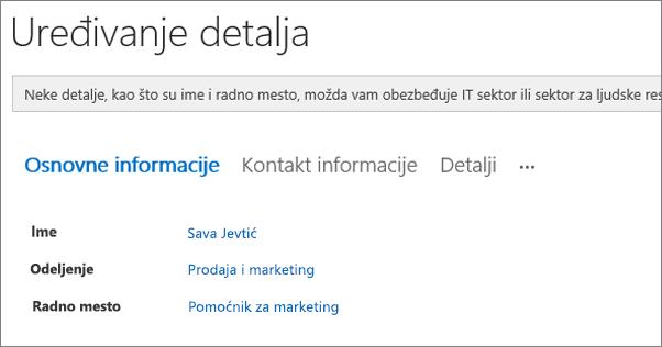 Snimak ekrana stranicu uređivanje detalja za korisnika u usluzi Yammer.