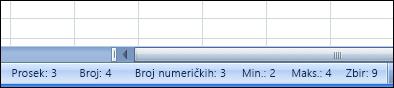 Statusna traka prikazuje izračunavanja i vrednosti izabranih ćelija